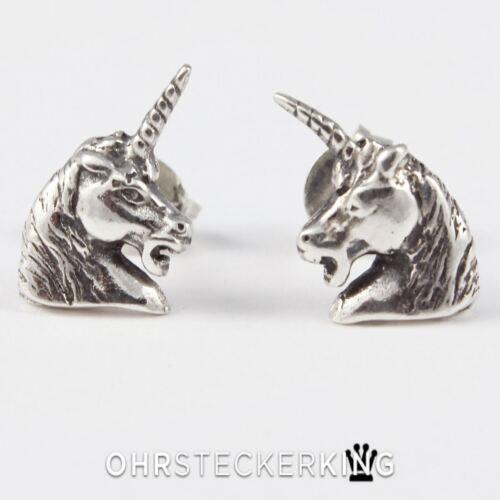 925-Silber Neu Ohrstecker Einhorn-Kopf Echt Silber