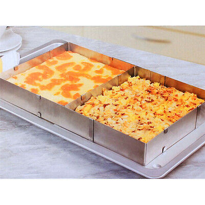 Rectangle Adjustable Silver Stainless Steel Mousse Cake Mould Ring Baking Tools