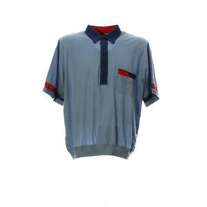VIntage-Kurzarmhemd-Herren-Groesse-L-Freizeit-Shirt-Gummizug-Retro-Hellblau