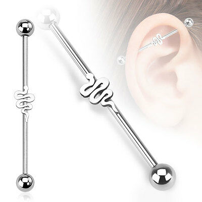 316L Surgical Steel Snake Ear Cartilage Industrial Barbell Piercing 14 GA