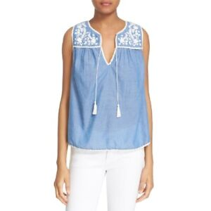 Joie Gavriel Embroidered Chambray Shell Top Small Blue White