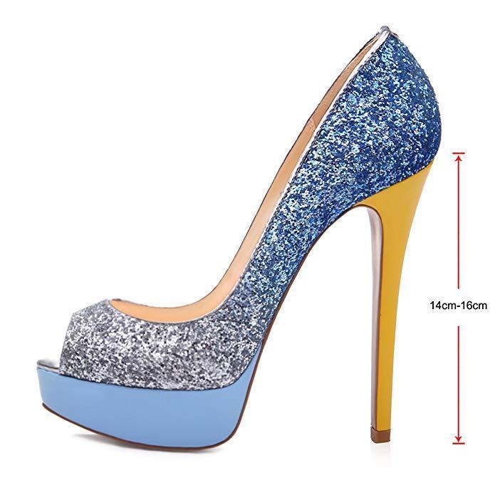 Zapatos De Tacones Fiesta para Mujer Lentejuelas Brillo Plataforma Tacones De Altos BOMBAS Club nocturno Peep Toes 41d565