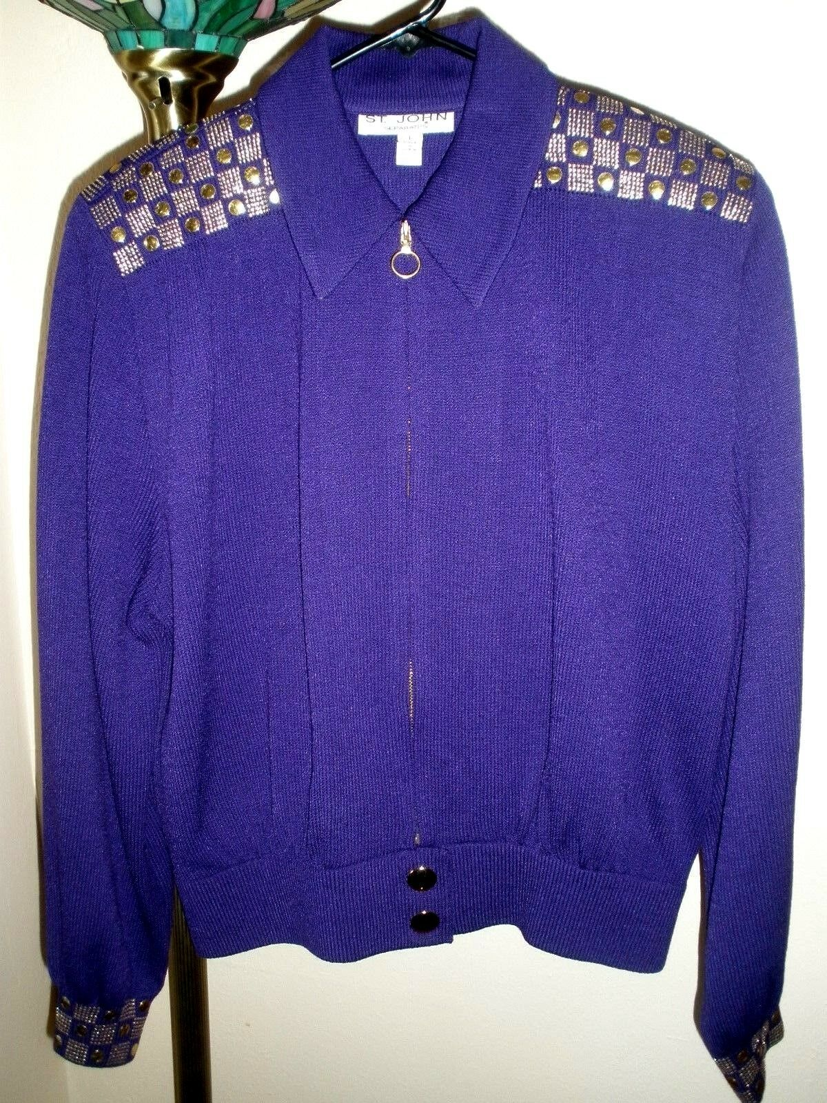 ST. JOHN SEPARATES DARK PURPLE gold ACCENTED FULL ZIP SWEATER SZ LARGE PERFECT