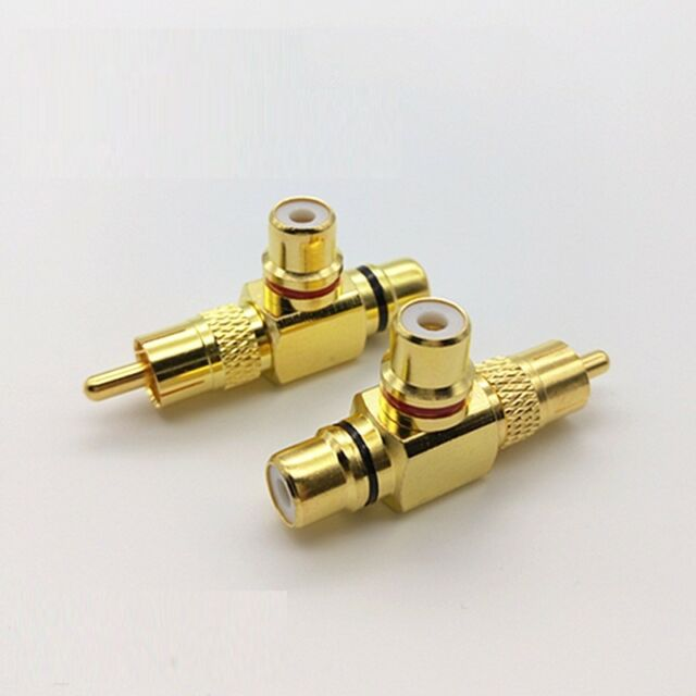 Valab Gold Plated RCA Y Splitter Adapter 1-Male to 2-Female RCA Adapter -- 1pcs