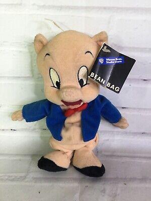 "WARNER BROTHERS STUDIO STORE LOONEY TUNES PORKY PIG 8/"" PLUSH BEAN BAG"