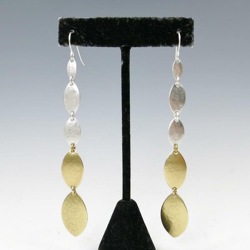 Marjorie Baer Linked Leaf Extra Long Shoulder Duster Earrings Unique Modern
