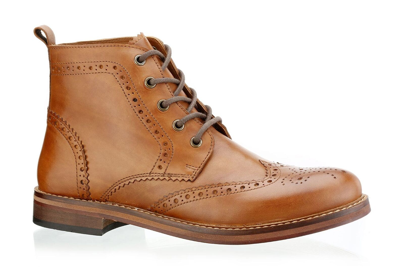 rot Tape Claroton Handmade Leather Sole Brogues Mens Stiefel Tan braun