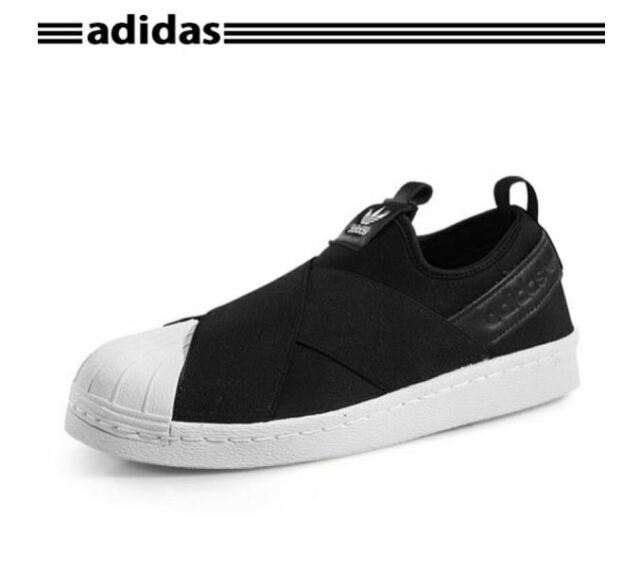 sports shoes 42d19 f4a4b New Adidas Women's SUPERSTAR Original Slip on Strap Black White Shoes S81337