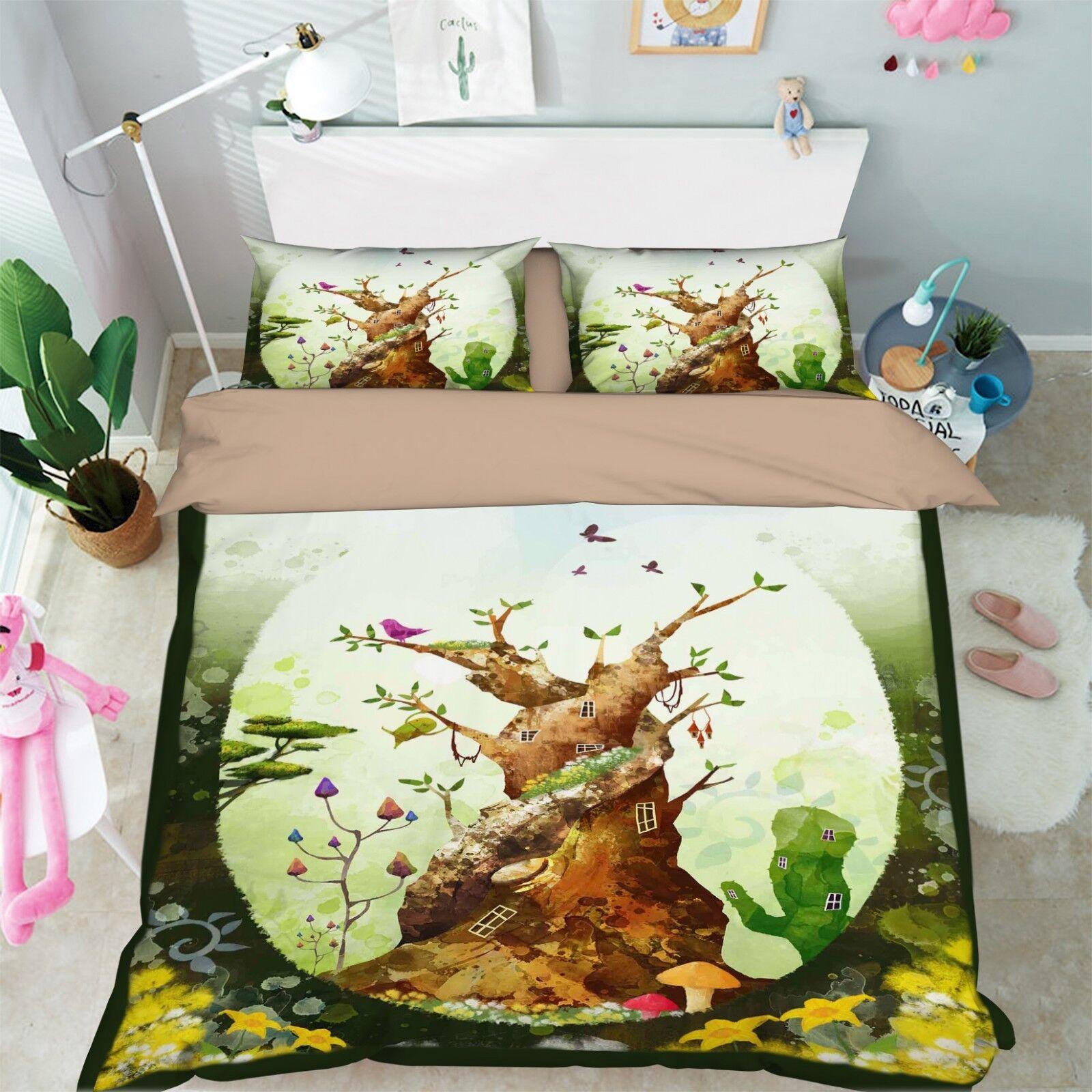 3D Painted Tree 578 Bed Pillowcases Quilt Duvet Cover Set Single King UK Summer