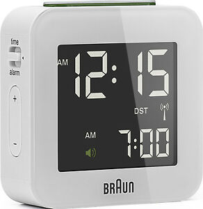 Reveil-Quartz-BRAUN-Blanc-Radio-Pilote-Interface-LCD-BNC008WH-RC