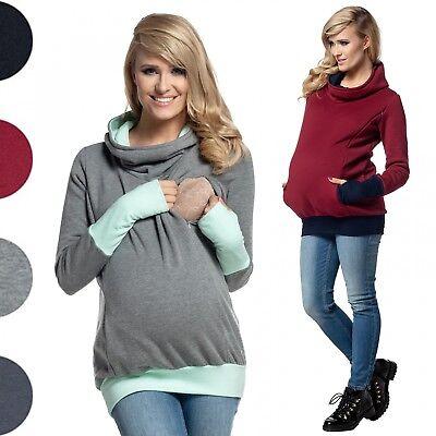 Happy Mama Women S Nursing Hoodie Breastfeeding Contrast Detail Maternity 330p Ebay