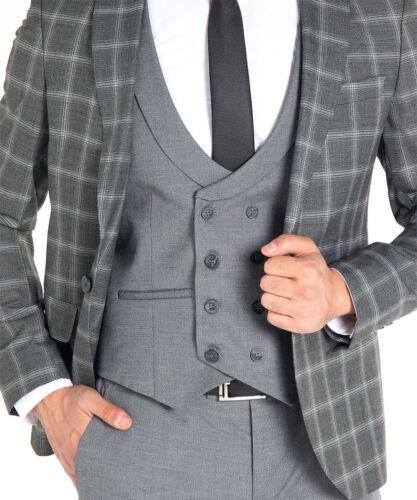 Slim Fit kombi Herrenanzug in Grau kariert Anzug-Hochzeit-Bühne-Sakko