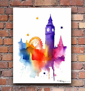 london england art print abstract watercolor painting city wall