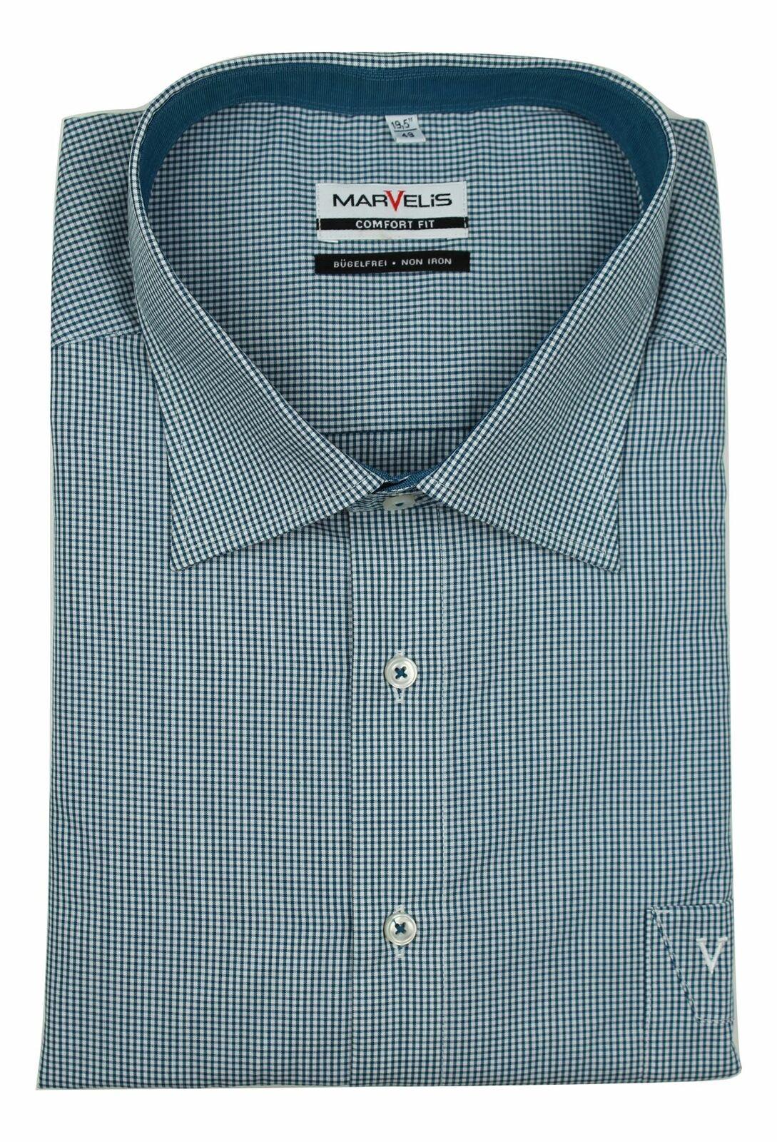 Petrol Blue Minicheck Spread Collar