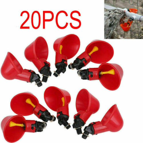Chicken Hen Plastic Automatic Drinker USA 20 Pack Poultry Water Drinking Cups