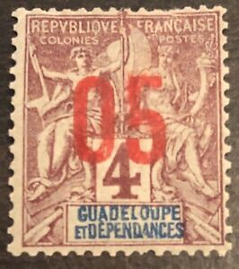 RARE-1891-GUADELOUPE-STAMP-4-Cent-CLARET-ON-LAVENDER-EARLY-ISSUE-NICE