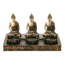 Thai Buddha Triple Candle Tea Light Holder Rustic Bronze Gold Effect Meditating