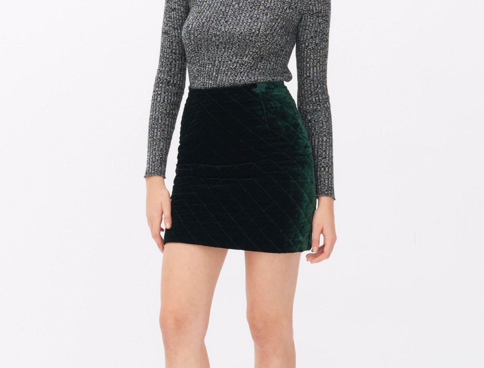 SANDRO Grün Quilted Skirt Sz. 1 Small NWT