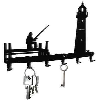 Gewissenhaft Schlüsselbrett Angler Mit Leuchtturm - Schlüsselboard Hakenleiste Metall Schwarz Hitze Und Durst Lindern.
