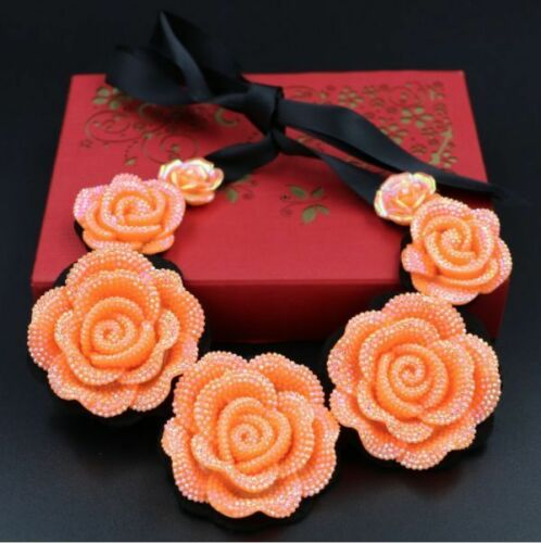 NEW Stunning Orange Iridescent Flower Collar Necklace UK Seller