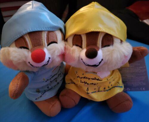 """Disney Chip and Dale Raincoat Rainy Day Plush 6/"""" Set NWT"""
