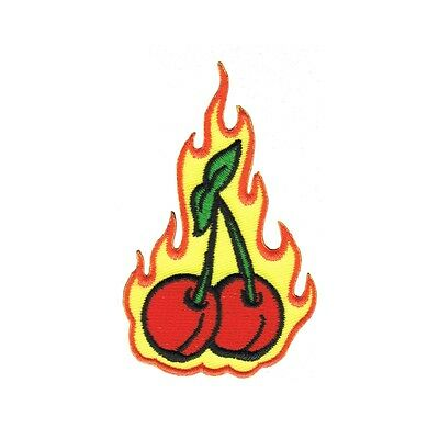Artist Reed Flaming Fruit Cherries Embroidered Iron On Badge Applique Patch FD