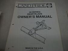 Land Pride Owners Parts Manual 35 Series Rear Blade