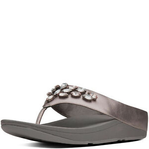 98ed61c3bb96e Image is loading FitFlop-Tiararama-Thong-Sandals-Pewter-Leather-Women-Size-