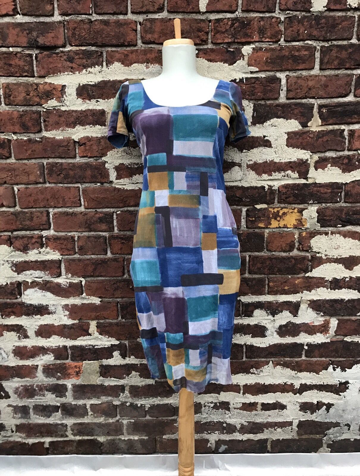 Weston Wear S M Anthropologie Blau Geometric Printed Nylon Stretch Sheath Dress