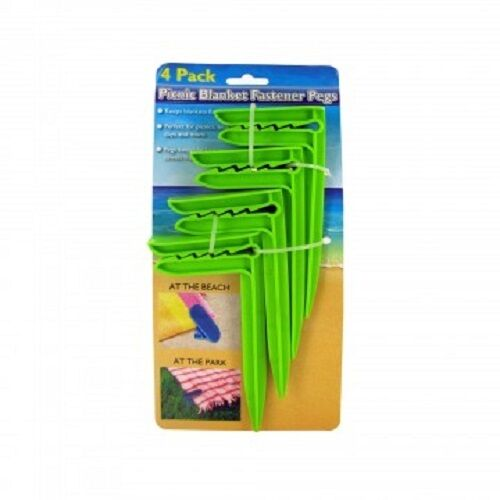 4pc Picnic Beach Camping Party Park Blanket Fastener Pegs Set In Blue or Green