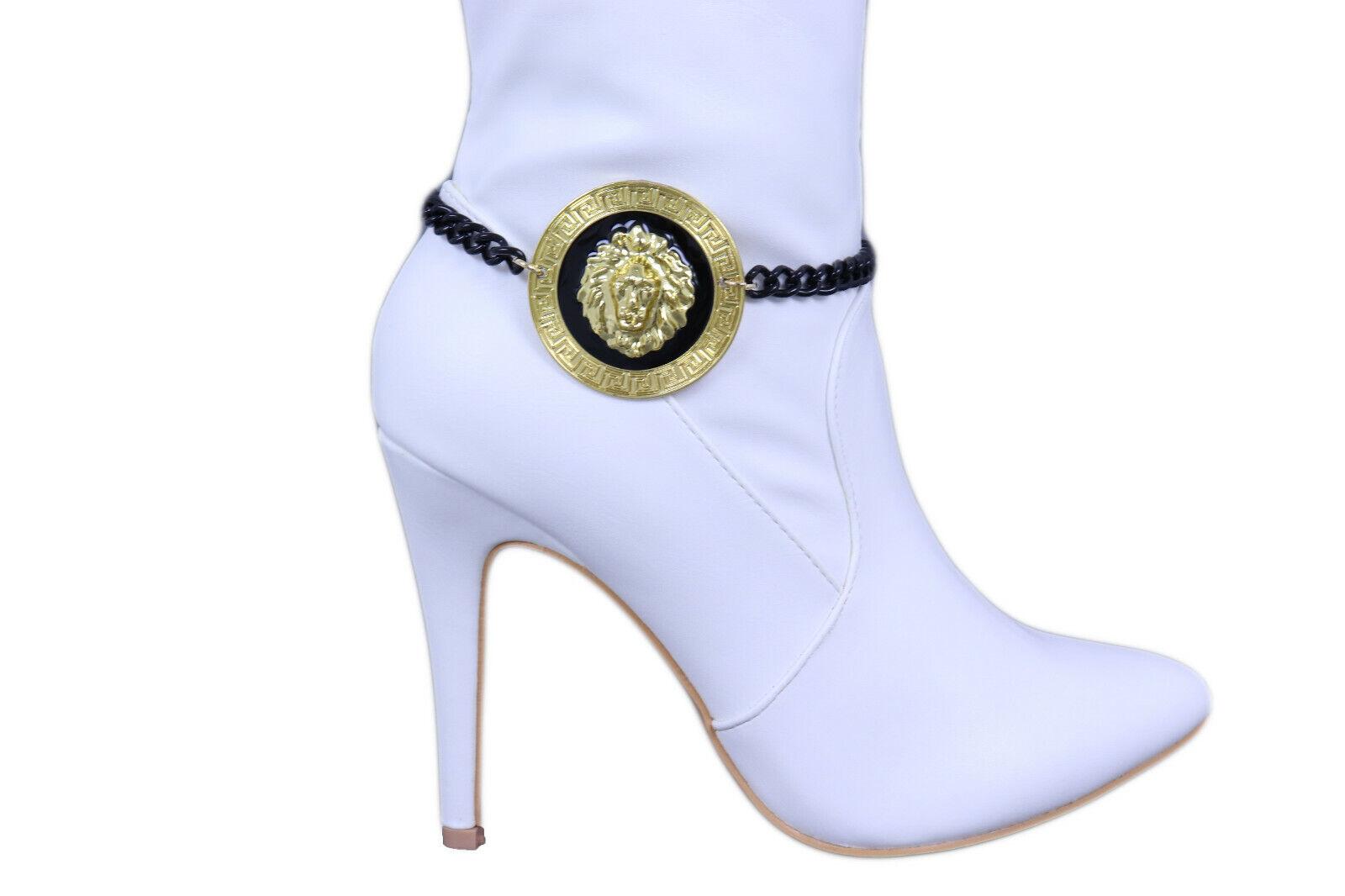 Women Black Metal Chain Boot Bracelet Shoe Anklet Gold Lion Charm Bling Jewelry