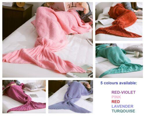 Adults Mermaid Tail Knitted Blanket Sofa Beach Handmade Quilt Rug Crochet Knit