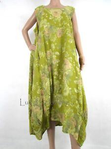 241df628c7 Details about NEW Italian Linen Oversize Lagenlook Floral Plus Parachute  Maxi Dress