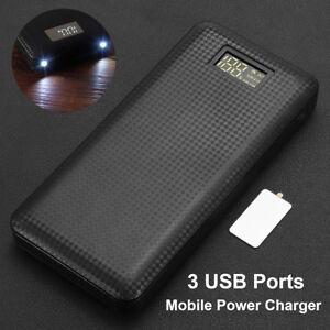 3-Puerto-USB-LED-Power-Bank-Bateria-Externa-Cargador-Caja-Carcasa-5V-2A-7x-18650