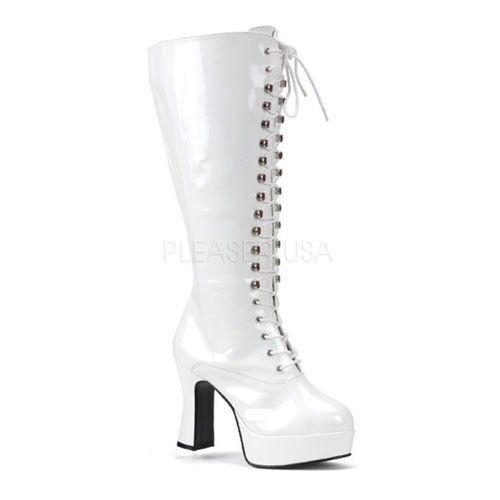 Sexy Shiny White 4  Platform GoGo Knee Boots Club Goth Wide Width Plus Size 7-13