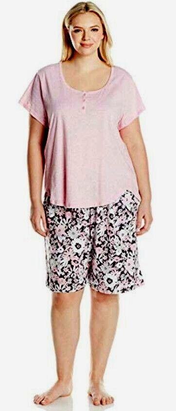 KAREN NEUBURGER Pajama Set, 1X 2X, Pink Floral, Soft Cotton, WAS  60 NEW
