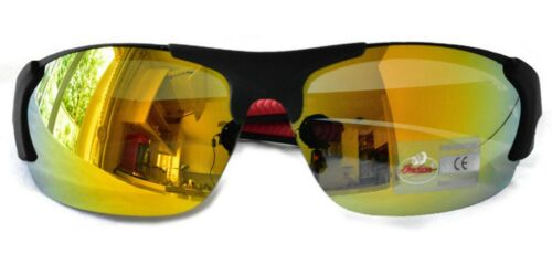 Indian Sunglasses Motorcycle Bicycle Day Night Mirror Yellow Lens Wrap 100/% UV