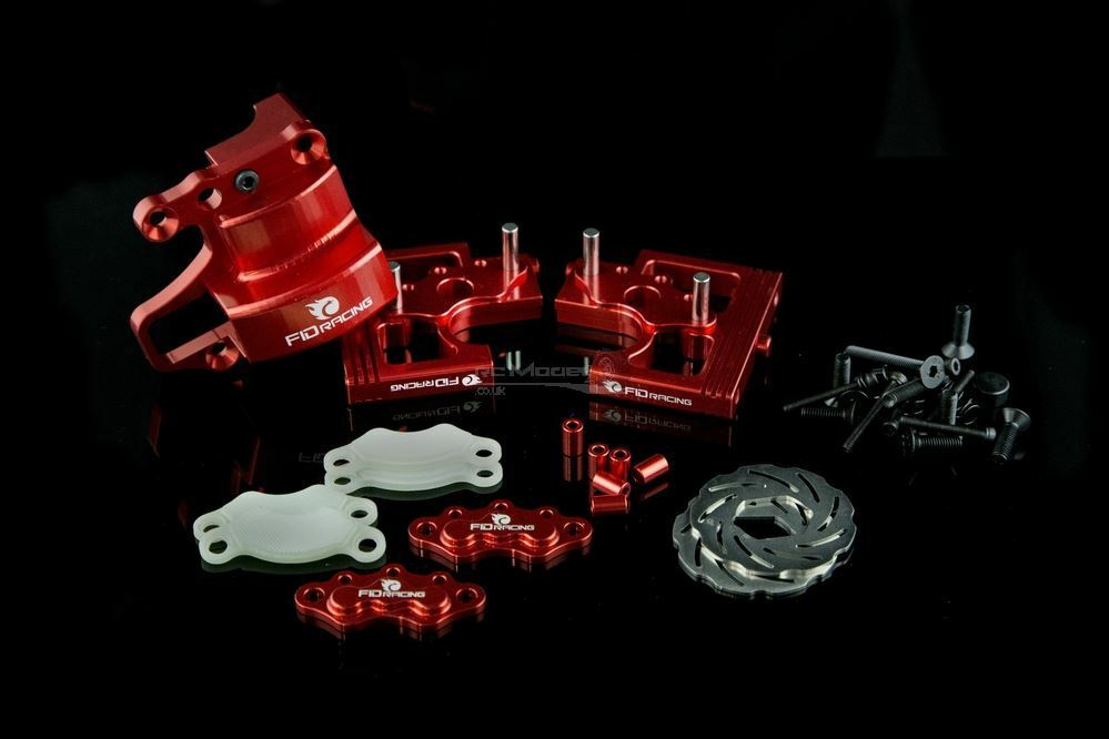FID Racing Alloy Center Diff Mounts & Adjustable Calipers for Losi DBXL - Red