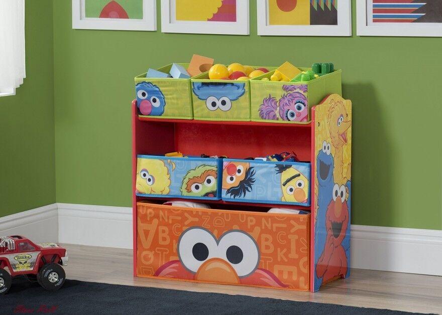 Baby Toy Chest Toddler Small Wooden Shelf Sesame Street Organizer Furniture NEW