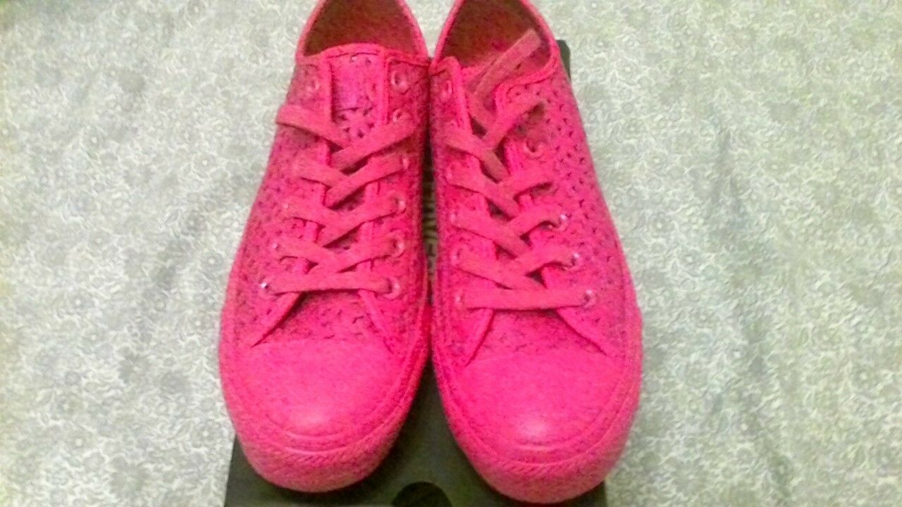 Womens  Leather Converse Trainers With Perforated Style Design U.K. 5.5  Pink