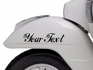2X-CUSTOM-VINYL-DECAL-sticker-scooter-vespa-lamberetta-CHOOSE-COLOUR-FONT