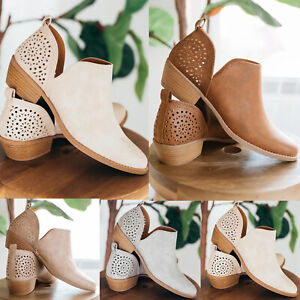 Women-039-s-Chunky-Low-Mid-Block-Heels-Ankle-Boots-Casual-Slip-On-Boots-Shoes-Size