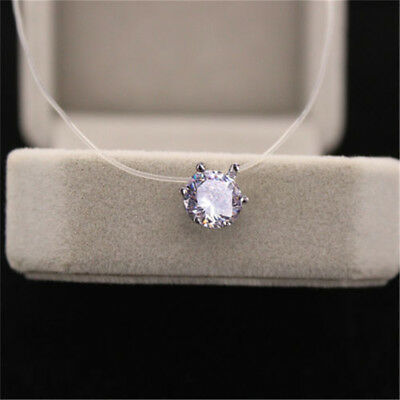 Fashion Crystal Necklace Invisible Line Zircon Clavicle Chain Women Access //LC