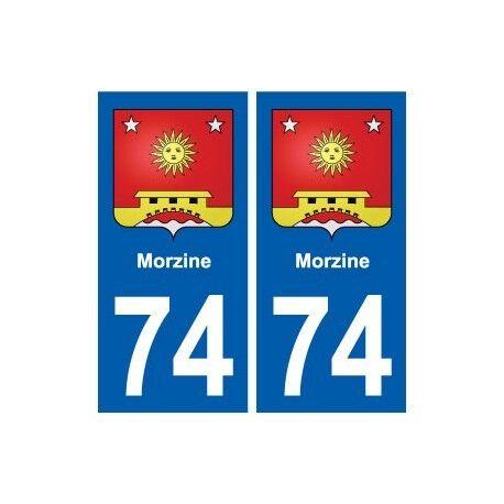 74 Morzine blason autocollant plaque stickers ville arrondis