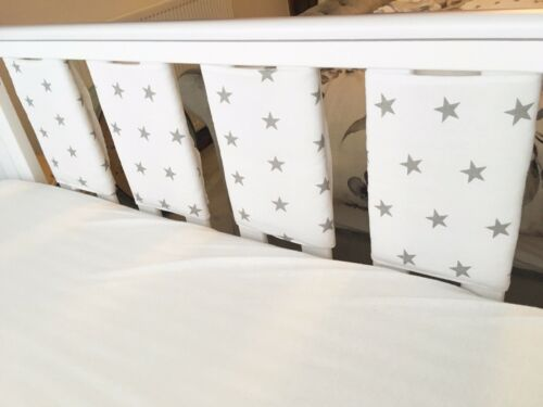 White With Grey Stars Handmade Cot Bar Bumpers Set Of 8