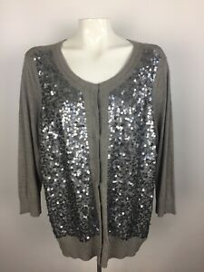 Talbots-Plus-Size-Womens-2X-Sequin-Cardigan-Sweater-Gray-Snap-Front-3-4-Sleeve