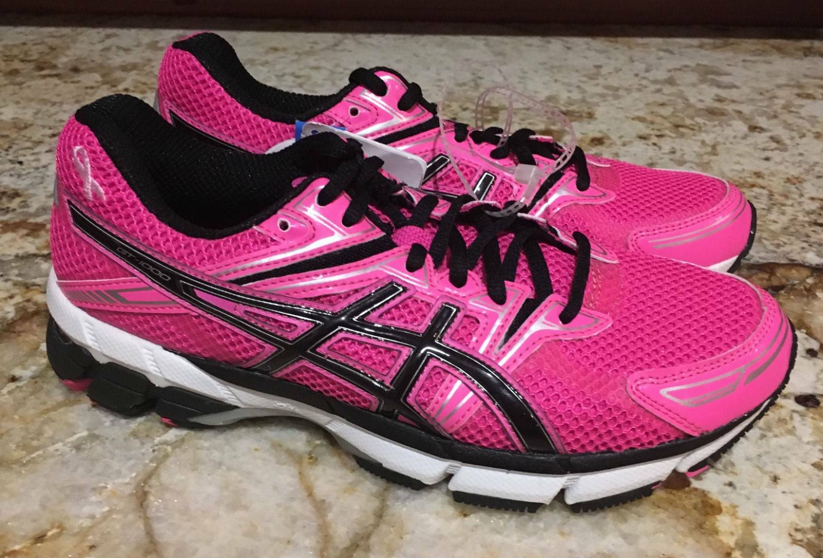 ASICS GT 1000 PR Pink Black Silver White Running Shoes Breast Cancer NEW Mens 6