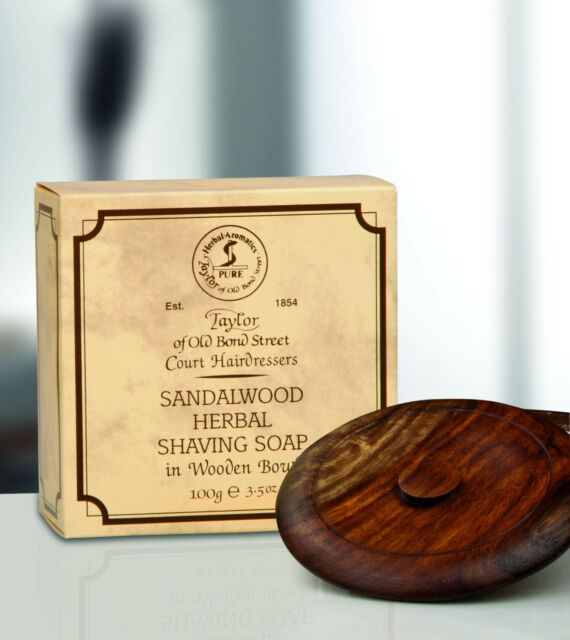 Taylor of old Bond Street Rasierseife Sandalwood Soap Sandelholz Holzschale 100g