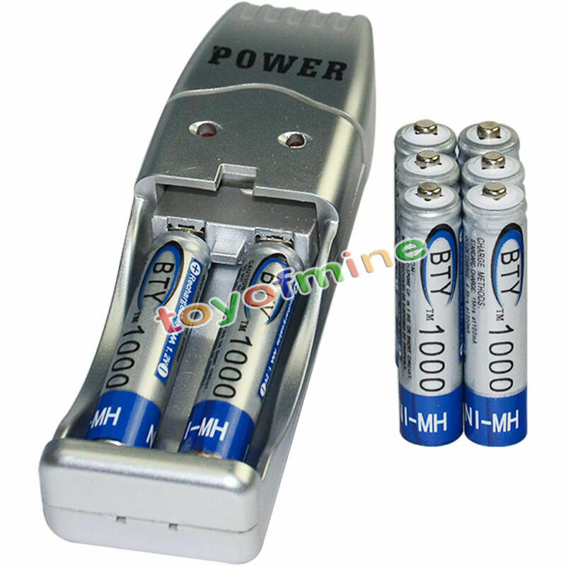 8x AAA battery batteries Bulk Rechargeable NI-MH 1000mAh 1.2V BTY + USB Charger