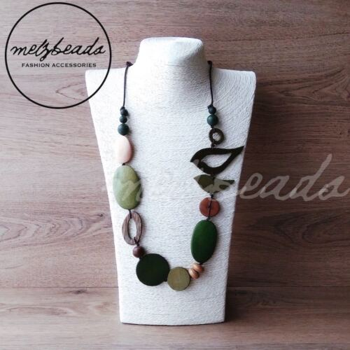 Natural Green Bird oval Wooden Bead Necklace Fashion Women Long Eclectic